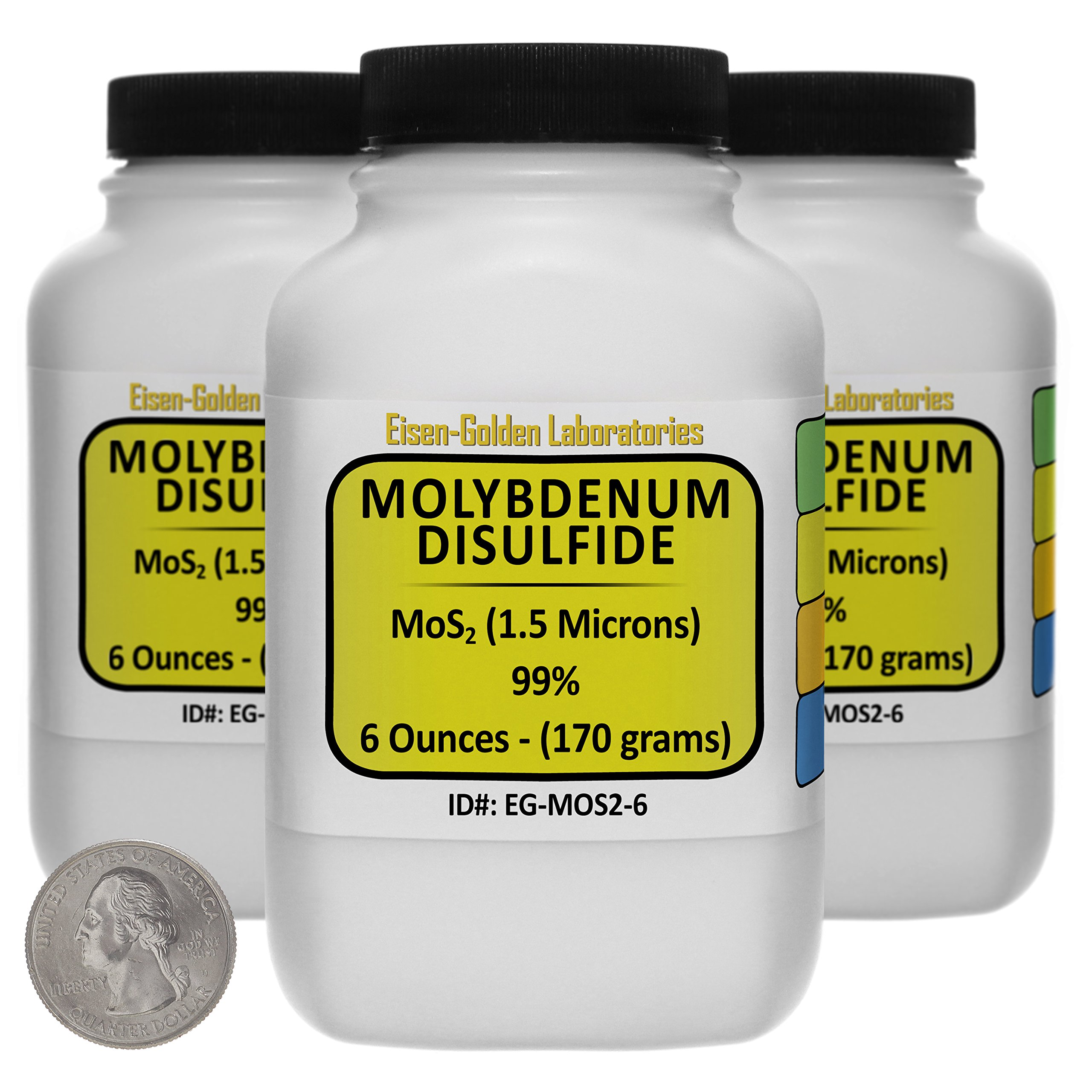 Molybdenum Disulfide [MoS2] 99% AR Grade Powder 1 Lb in Three Space-Saver Bottles USA