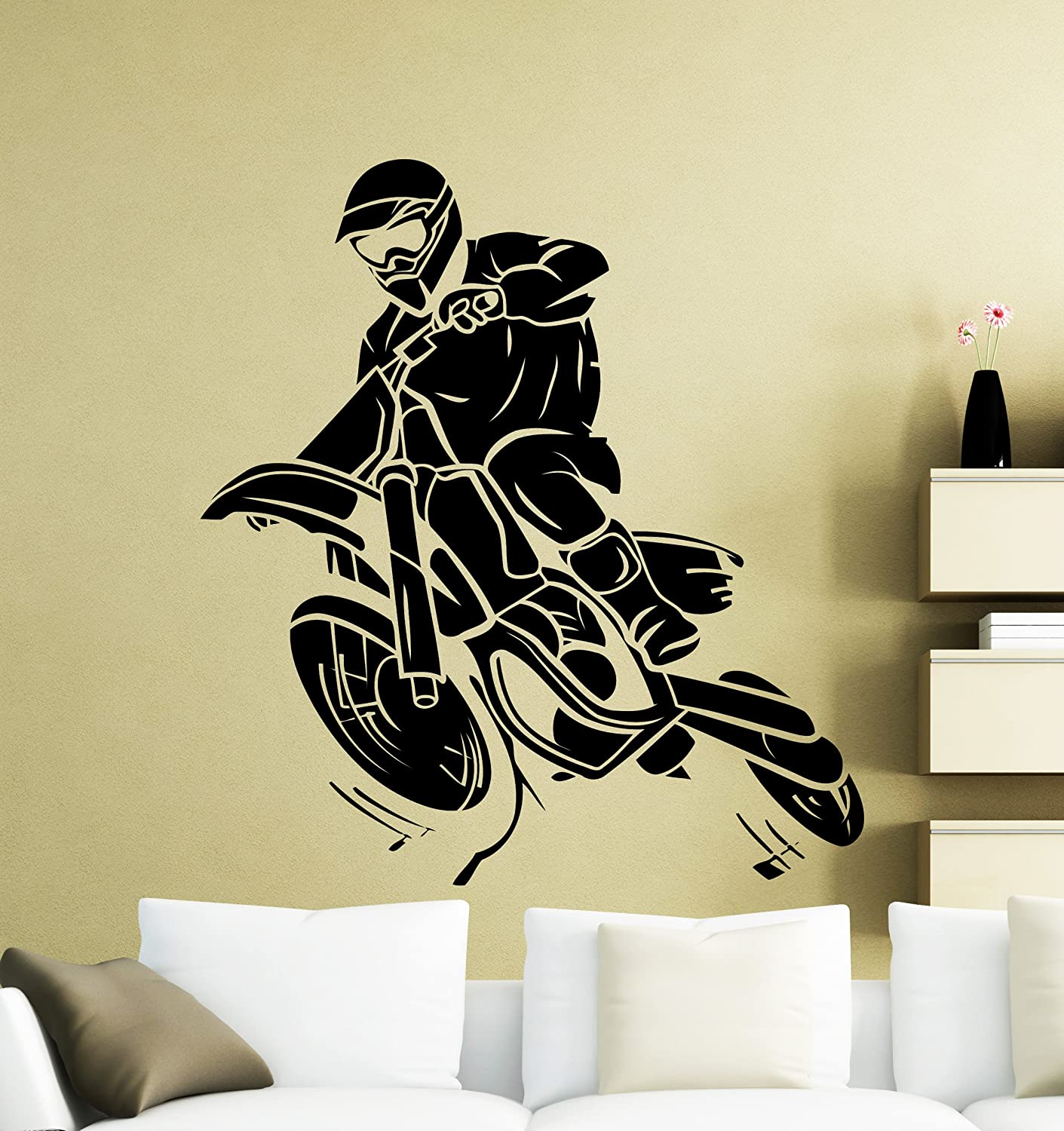 Motorcycle Racer Silhouette Wall Decal Extreme Sport Motocross Moto ...