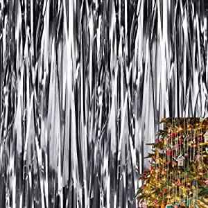 Christmas Shimmer Tinsel Icicles Decorations 18 Inch Xmas Tree Tinsel Foil Fringe Icicles Christmas Iridescent Tinsel Foil Fringes for Xmas Holiday Decor (Silver,4000 Strands)