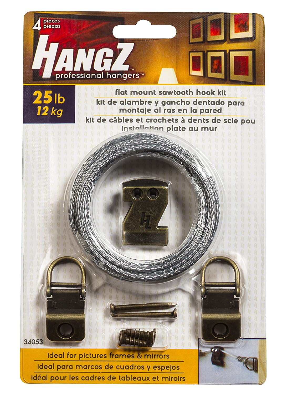 HangZ 34053 Canvas Flat Mount Sawtooth Hook Picture Hanger Kit 25lb