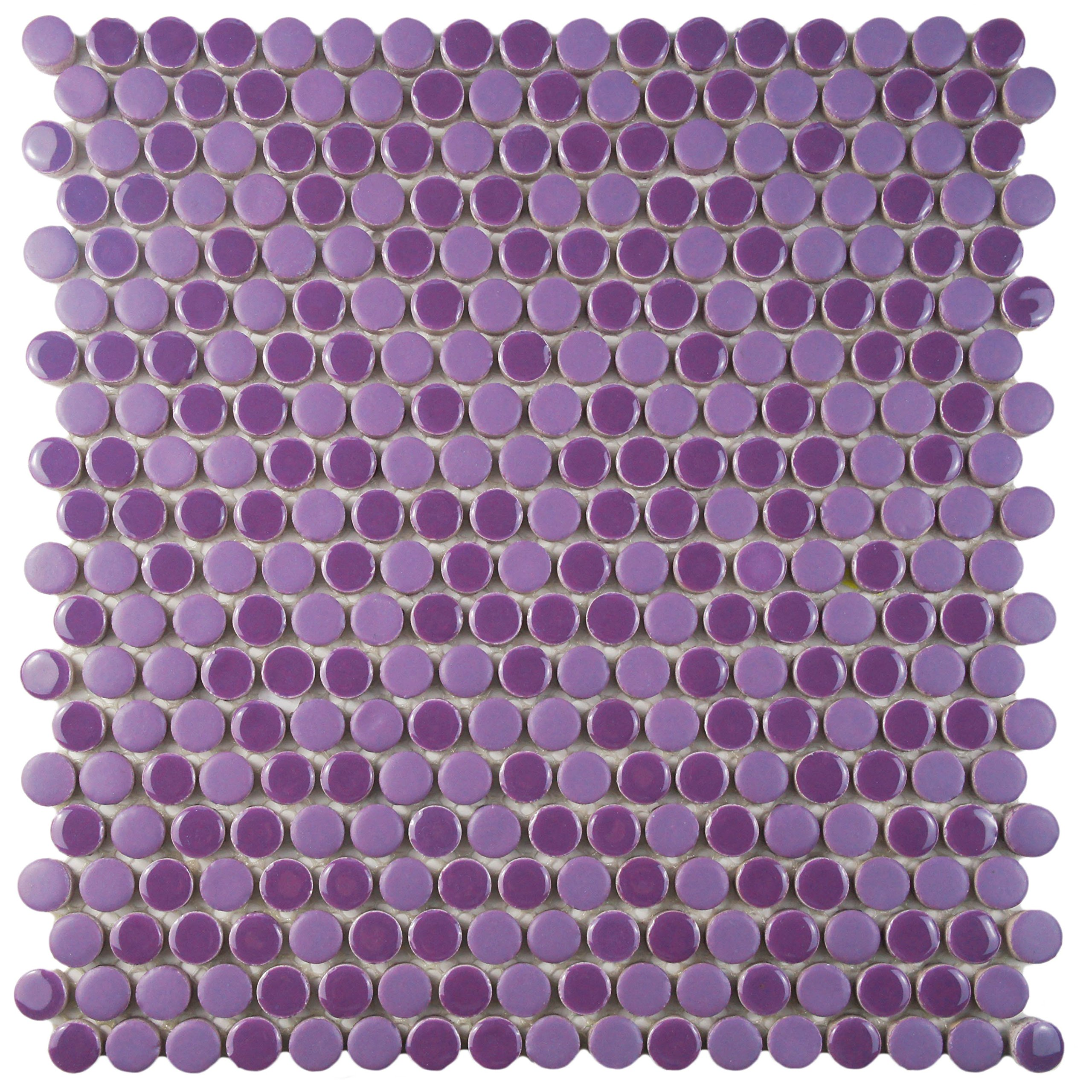 SomerTile FSHCOMPL Juno Penny Round Porcelain Floor and Wall Tile, 11.25'' x 11.75'', Purple/Lavender by SOMERTILE