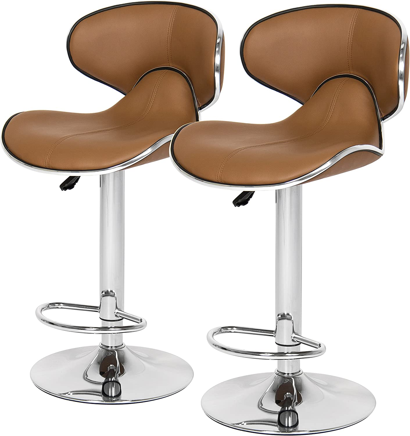 Best Choice Products Home Adjustable Airlift Set Of 2 Leather Barstools, Brown