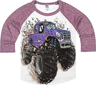 product image for Shirts That Go Little Boys' Big Purple Monster Truck Raglan T-Shirt