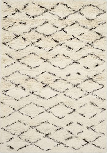Safavieh Casablanca Shag Collection CSB847A Handmade Ivory and Brown Premium Wool Cotton Area Rug 3' x 5'