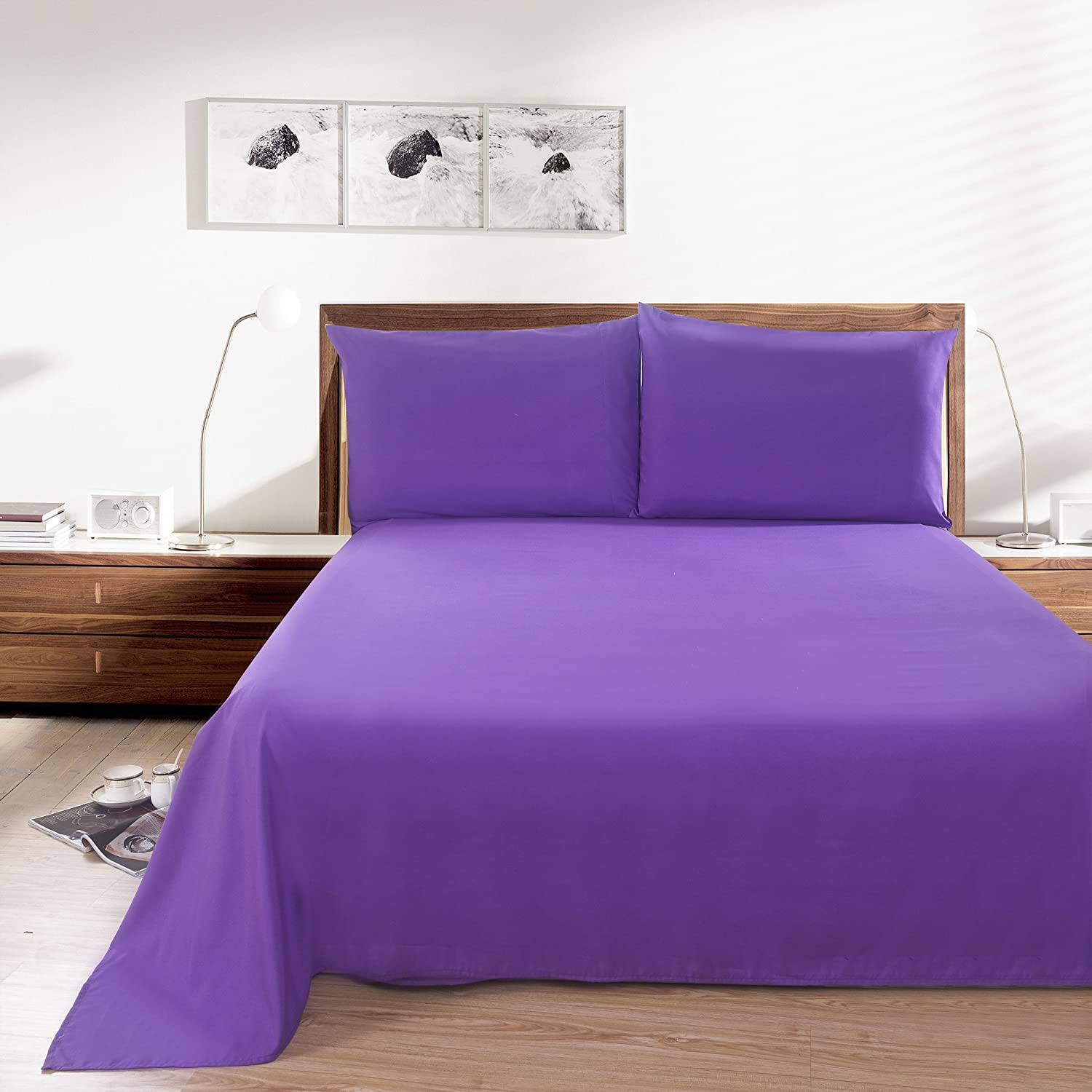 Lullabi Linen Purple 100% Brushed Soft Microfiber Bed Sheet Set