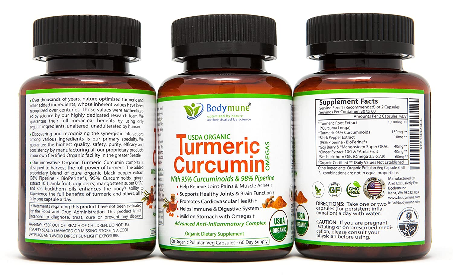 Organic Turmeric Curcumin Supplement Organic Turmeric Capsules Best Organic Turmeric Supplement with Black Pepper Turmeric with Piperine 95 Curcuminoids Ginger Amla Goji Omega – 60 Day Supply