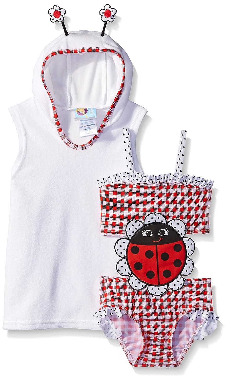 Baby Buns Baby Girls' Lady Bug Terry Cover Up Swimwear Set w13787
