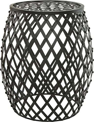 MyGift 18-inch Bohemian Chic Openwork Lattice Design Black Metal Garden Stool Decorative Accent Display Stand Patio Side End Table