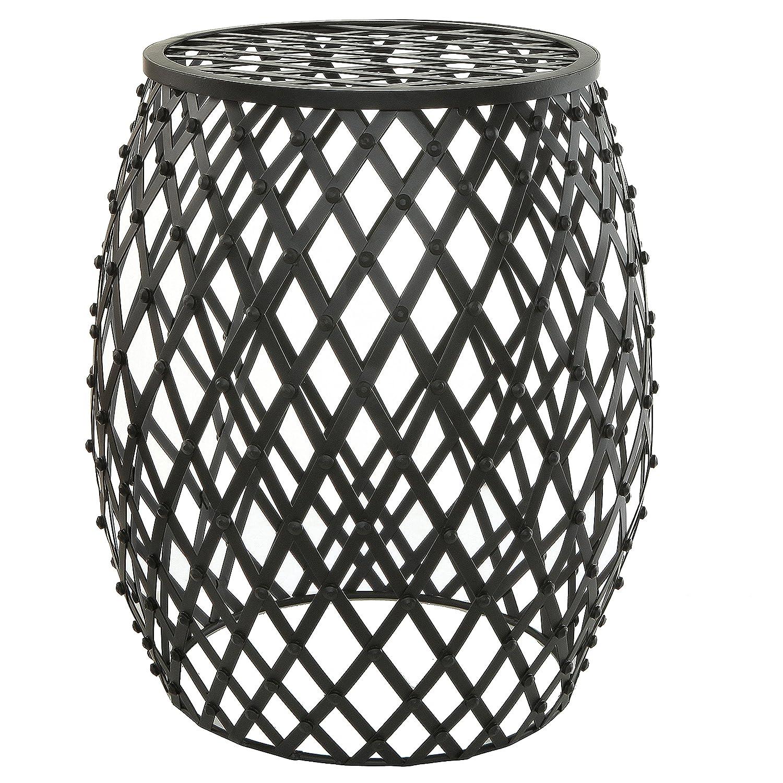 MyGift Bohemian Chic Openwork Lattice Design Black Metal Garden Stool/Decorative Accent Stand