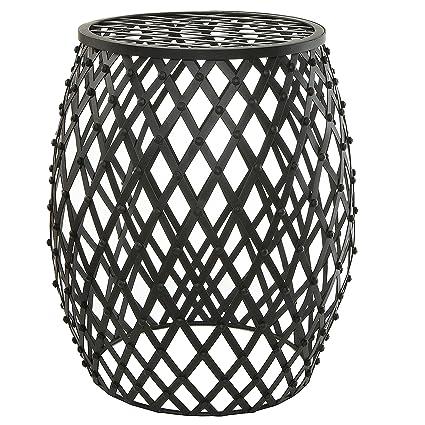 Attractive Bohemian Chic Openwork Lattice Design Black Metal Garden Stool / Decorative  Accent Stand   MyGift