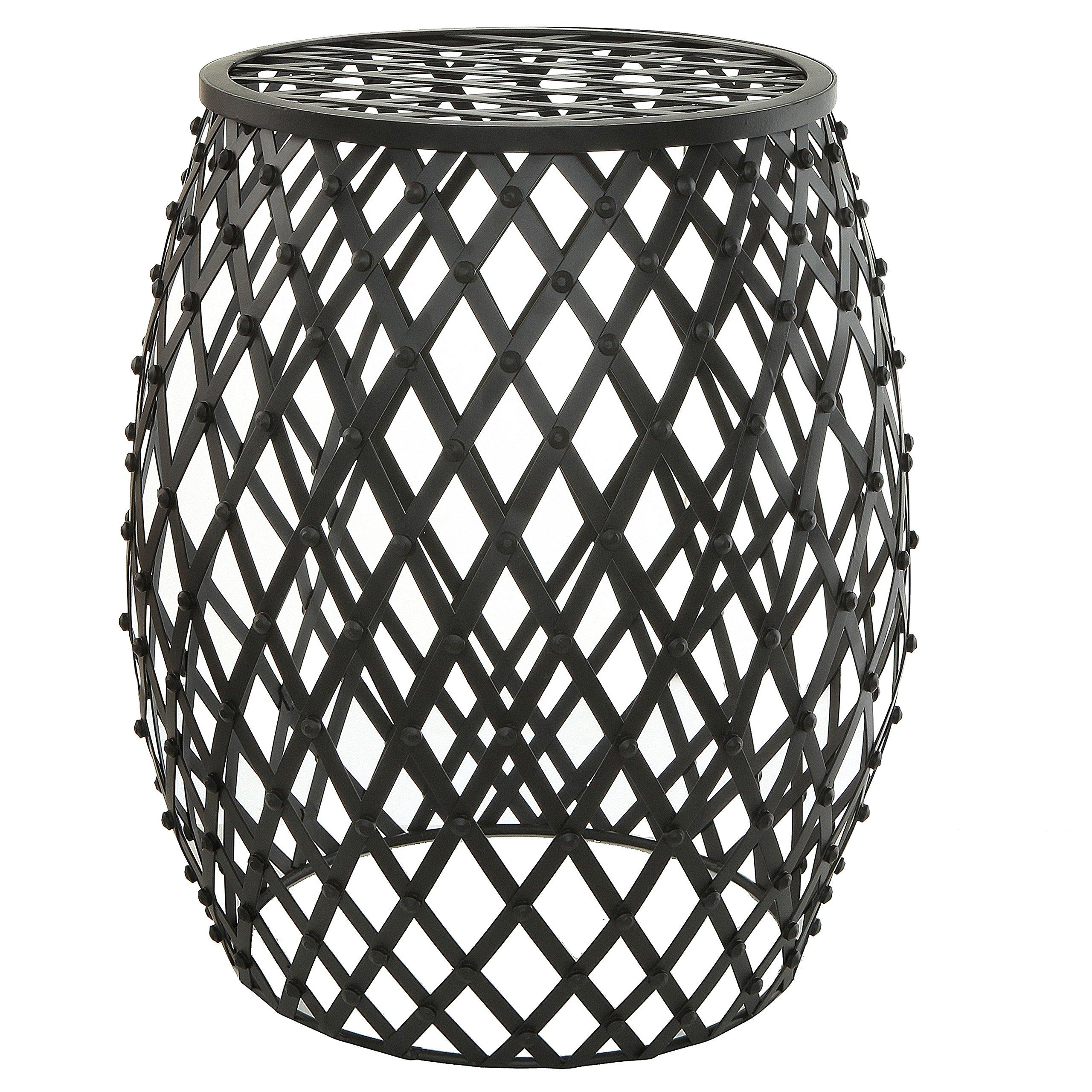 Bohemian Chic Openwork Lattice Design Black Metal Garden Stool / Decorative Accent Stand - MyGift