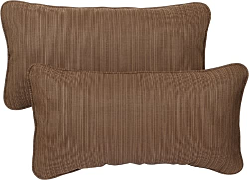 Mozaic AZPS2852 Indoor Outdoor Sunbrella Lumbar Pillows with Corded Edges, Set of 2 12 x 24 Textured Brown