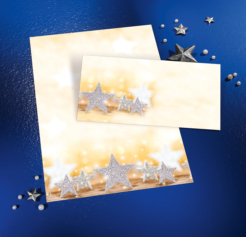 A4 SIGEL DP029 Weihnachtsbriefpapier Glitter Stars 100 Blatt