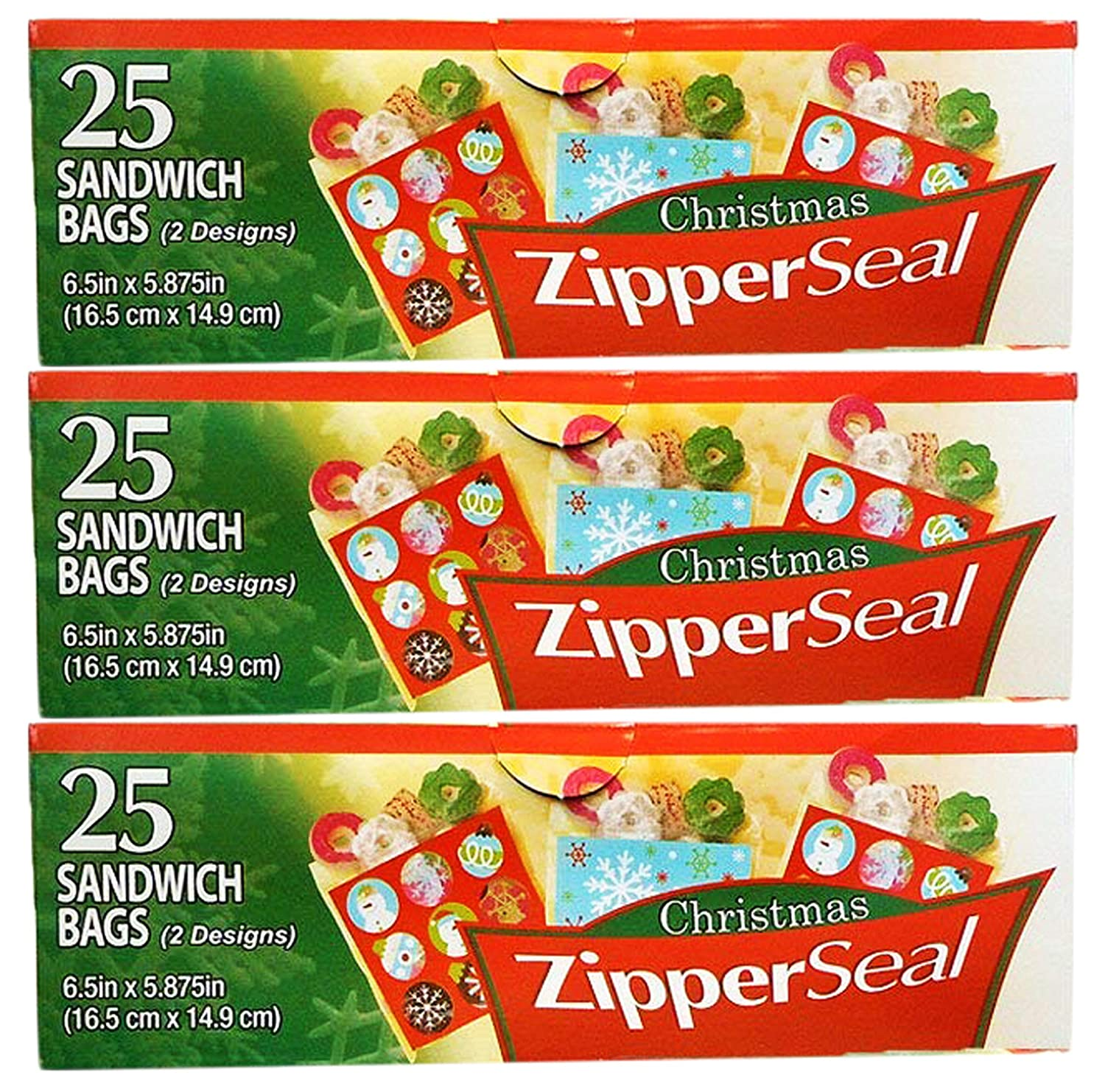 Set of 360 Christmas Holiday Treat Bags with Zip Lock 3 Assorted Styles 360
