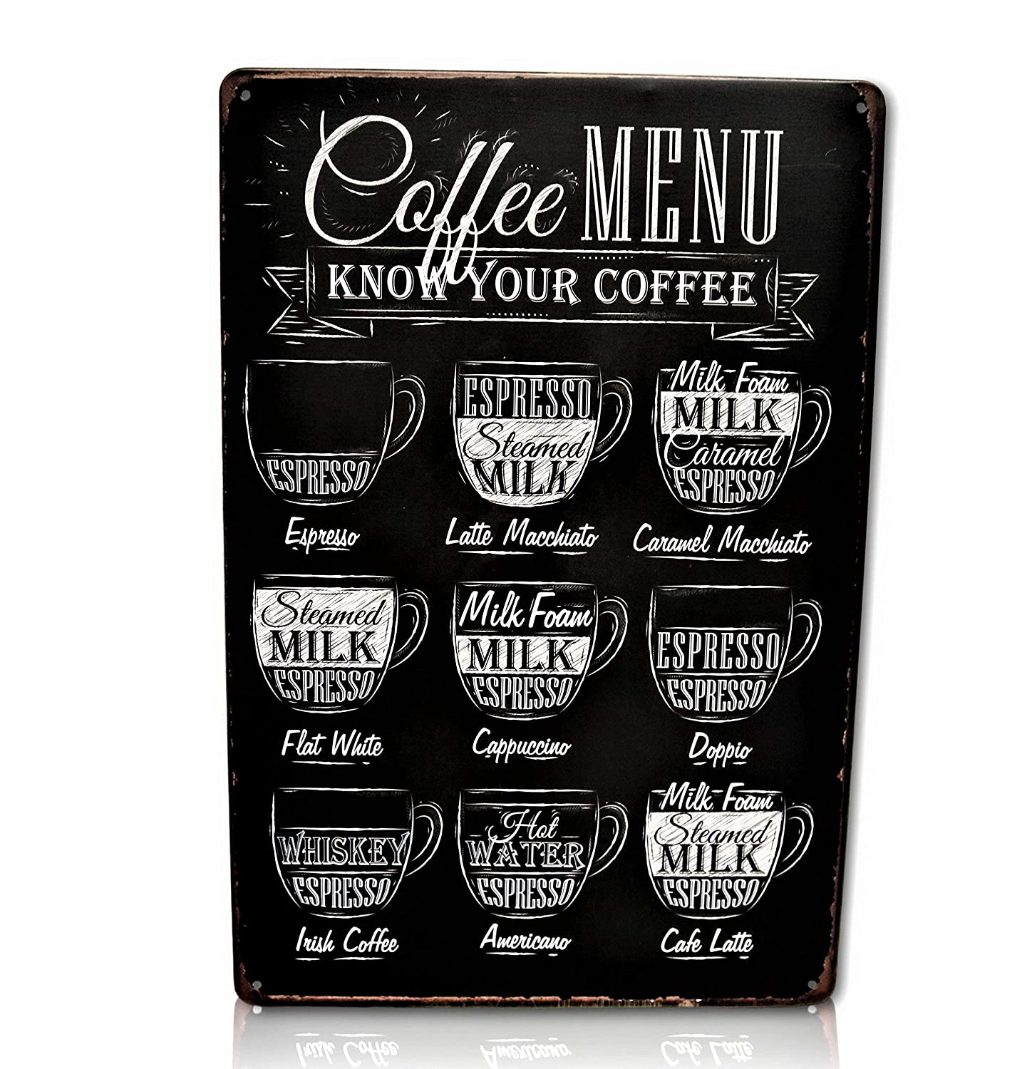 Save Directly Coffee Menu Bar Metal Sign - Perfect for Your Home Decor, Kitchen, Coffee Bar, Cafe, Office, Workshop Know Your Coffee Vintage Retro Wall Signs Size: 8x12 Inches