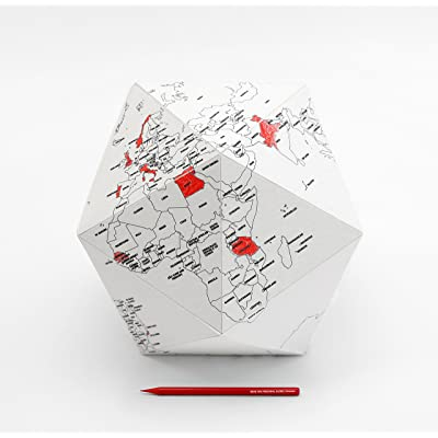 Here by Me~Personal Foldable Globe~SMALL~3 Dimensional Sophisticated Quality Graphic Paper Globe~Mark you Personal Travel Journey!: Office Products