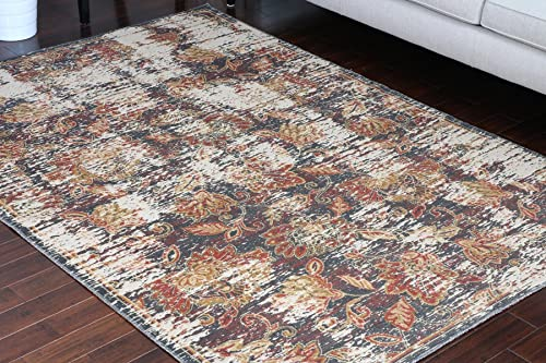 Rustic Collection Antique Style Wool Exposed Cotton and Jute Oriental Carpet Area Rug Rugs Charcol Rust Beige 7007 Black 8×11 8×10 7'10×10'2
