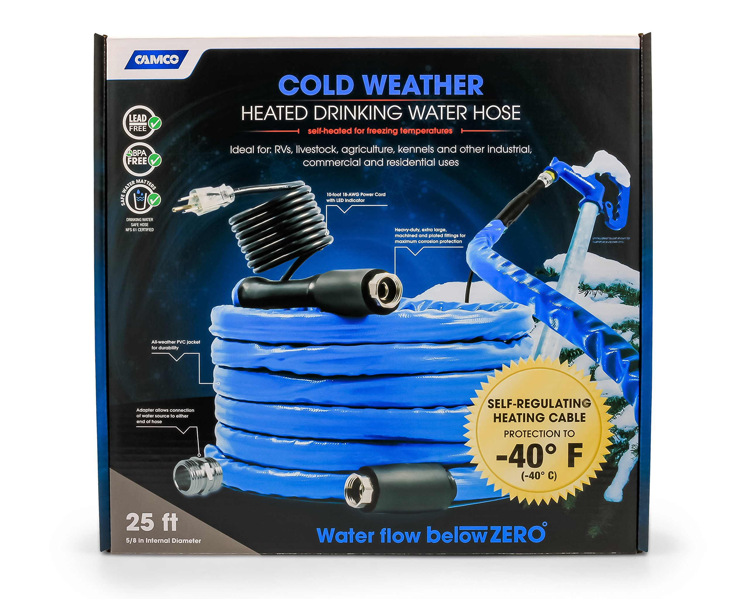 Camco 25ft Cold Weather Heated Drinking Water Hose Can Withstand Temperatures Down to -40°F/C- Lead and BPA Free, Reinforced for Maximum Kink Resistance  5/8'' Inner Diameter (22923)