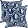 Pack of 2 CaliTime Cushion Covers Throw Pillow Cases Shells, Modern Petaloid Waves, 18 X 18 Inches, Navy Blue