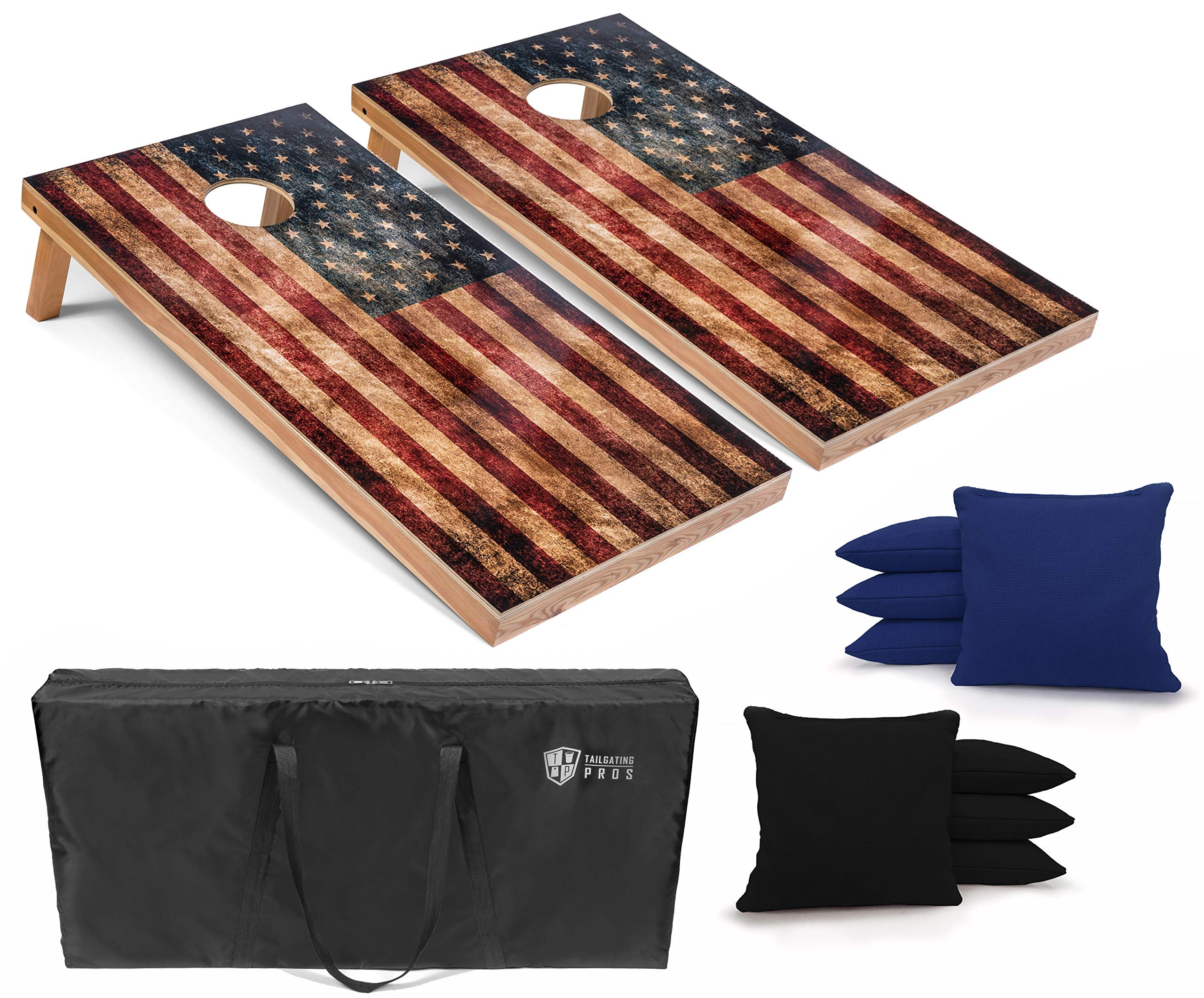 Tailgating Pros Rustic American Flag Cornhole Boards w/Bean Bags - 4'x2' Distressed Flag Cornhole Game w/Carrying Case & Corn Hole Bags by Tailgating Pros
