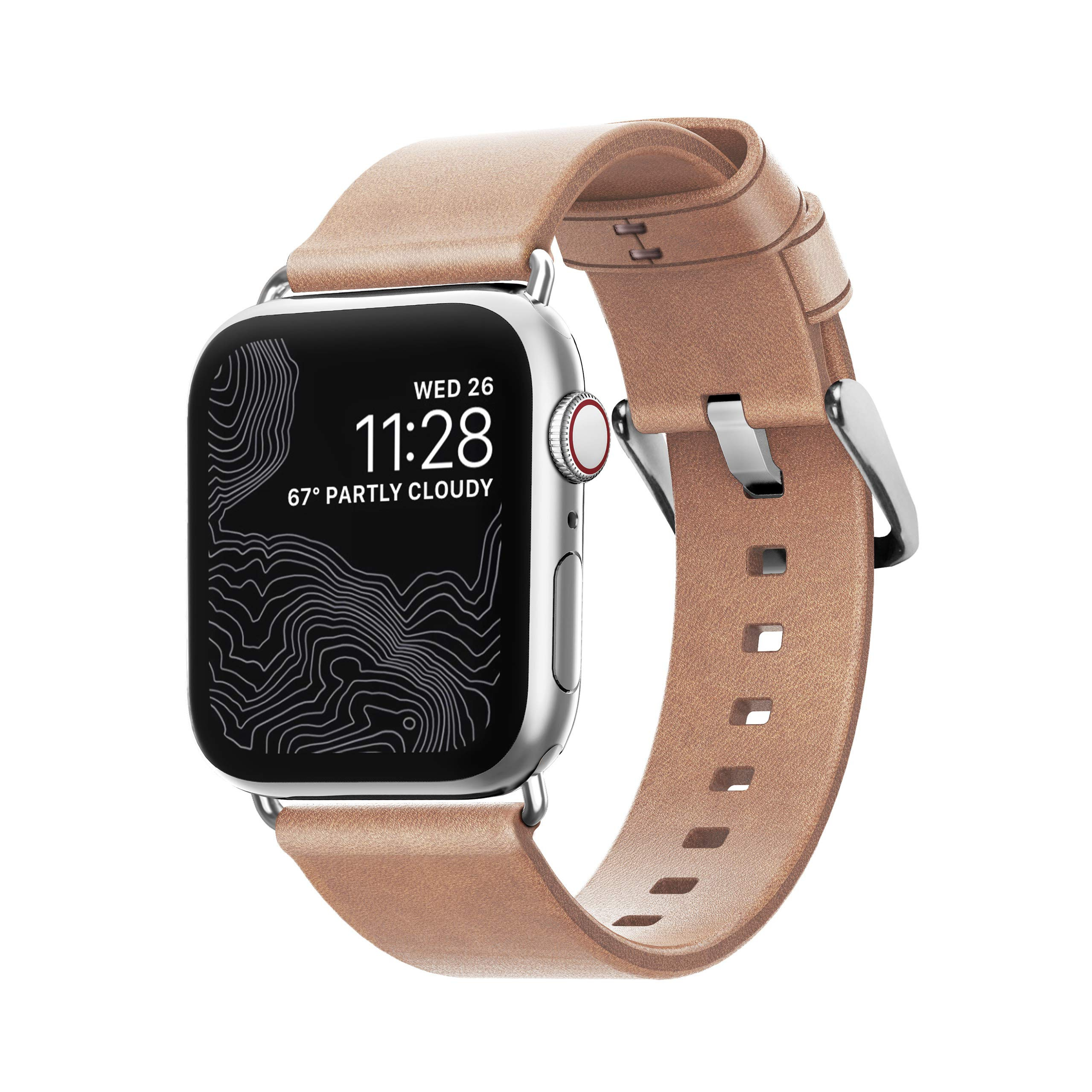 Nomad Modern Strap (Slim) for Apple Watch 40mm/38mm | Natural Horween Leather | Silver Hardware by Nomad