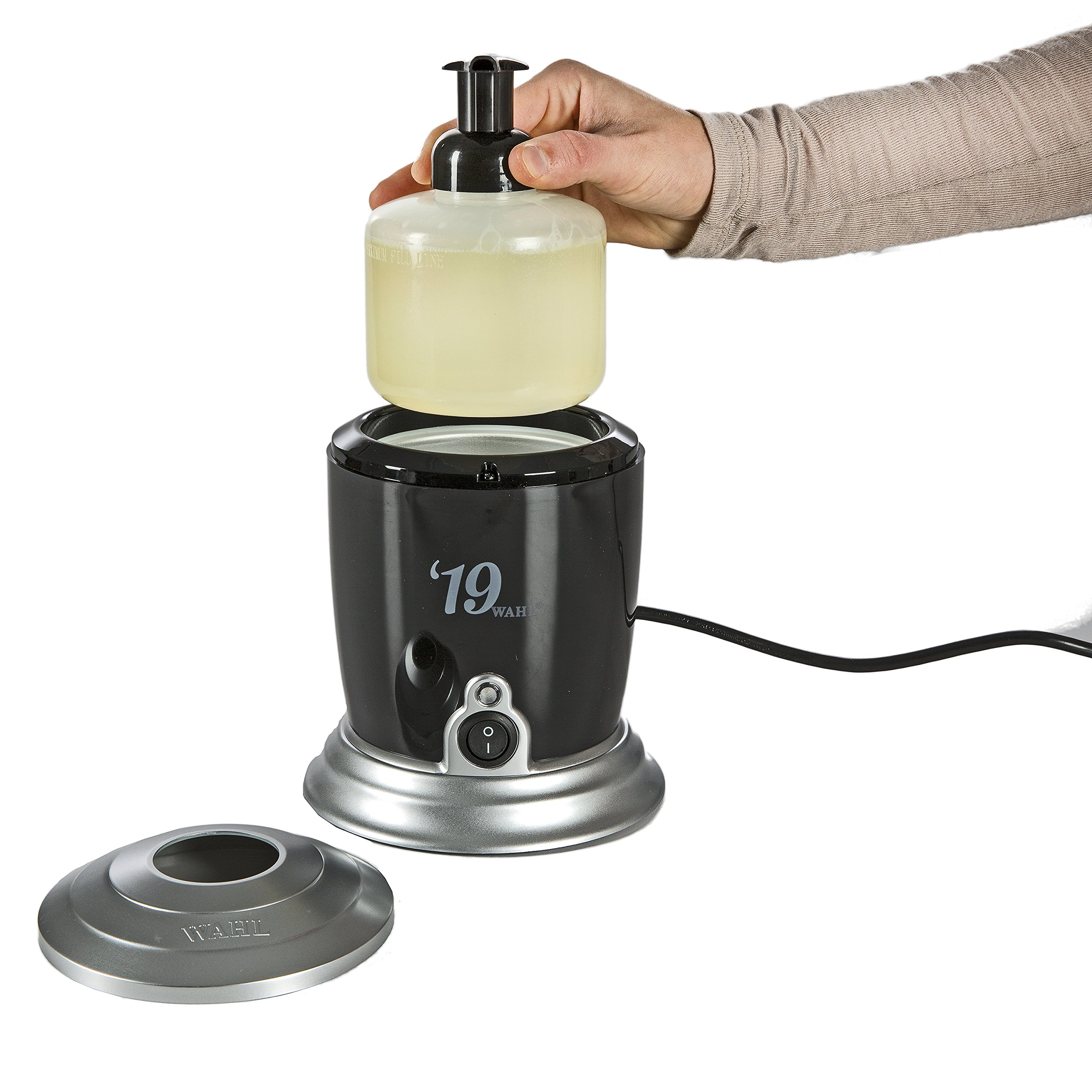 Wahl Professional '19 Hot Lather Machine #68908 – Professional Barber Quality Dispenser with Internal Liquid Pump, Bottle, Additional Bonus Liquid Pump, and 12 oz. Bottle of Pre-Mixed Liquid Lather by Wahl Professional (Image #4)
