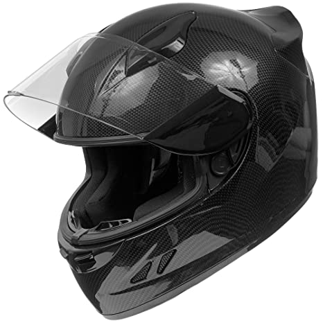 KOI DOT Motorcycle Helmet Full Face KOI Gloss Carbon Fiber w/Clear Visor - Large