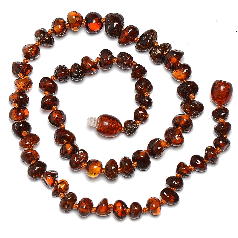 Genuine Amber Collana in Ambra baltica Originale/ /Annodato tra Perline /Perle Lucido/ /Cognac Color/