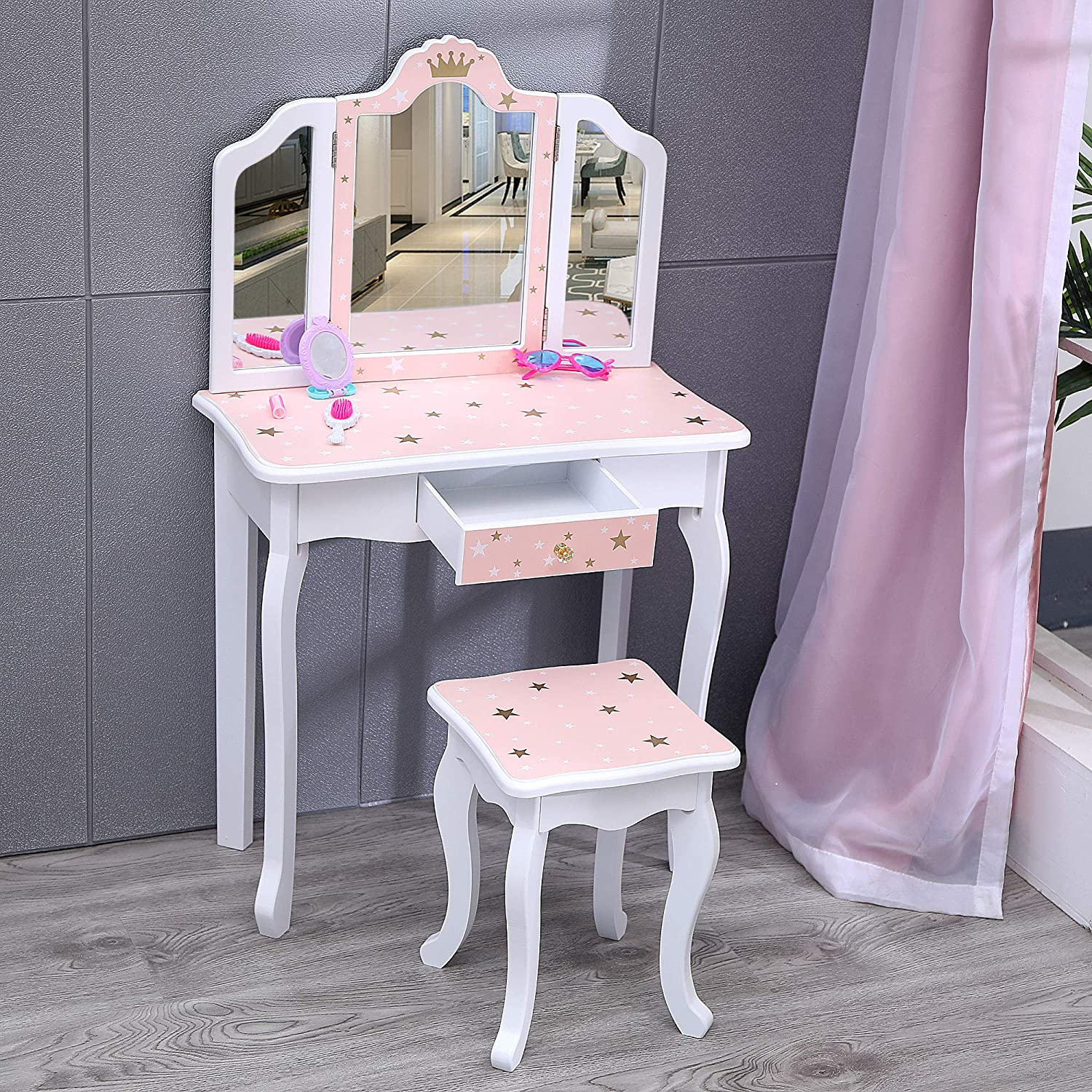 Nromant Kids Vanity Table and Chair Set, Girls Vanity Set with Mirror and Stool, Tri-Folding Mirror, Makeup Dressing Princess Table with Drawer, Kids Vanity Set with Mirror Age 4-9