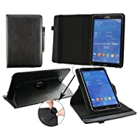 Emartbuy Wind Tab 8 4G 8 Pollice Tablet Universale (7-8 Pollice) Nero PU Pelle 360° Rotante Folio Wallet Custodia Case Cover + Nero Stilo
