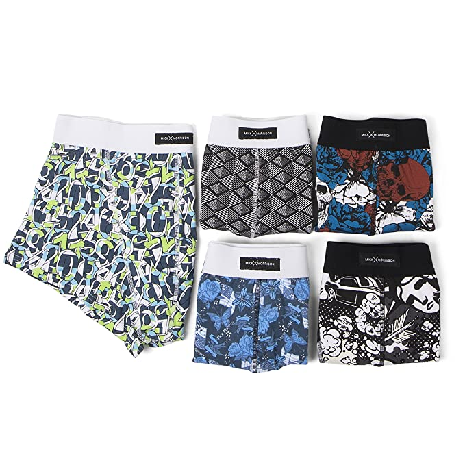 21b9f46b8d Mick Morrison Men's Boxers - Pack of 5 Men's Trunk Underwear with Different  Patterns: Amazon.co.uk: Clothing