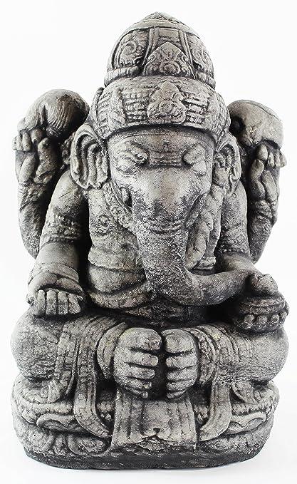Seated Ganesh Concrete Garden Statue Cement Hindu Elephant