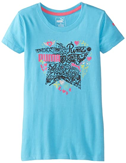 44253762186 PUMA Little Girls' Active Graphic Tee Shirt, Fresh Turquoise, ...