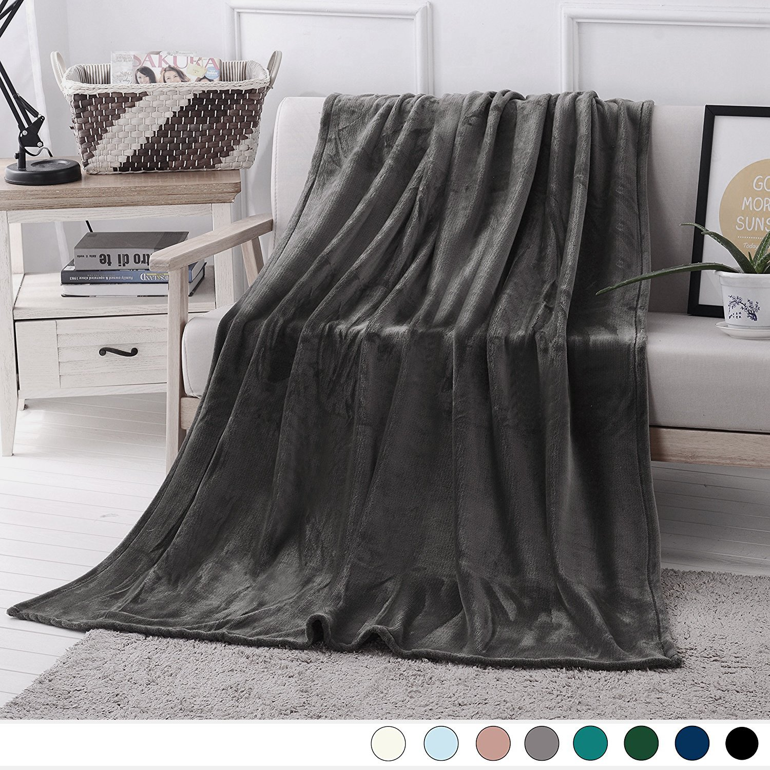 Luxury Flannel Velvet Plush Throw Blanket  (Grey) by Exclusivo Mezcla