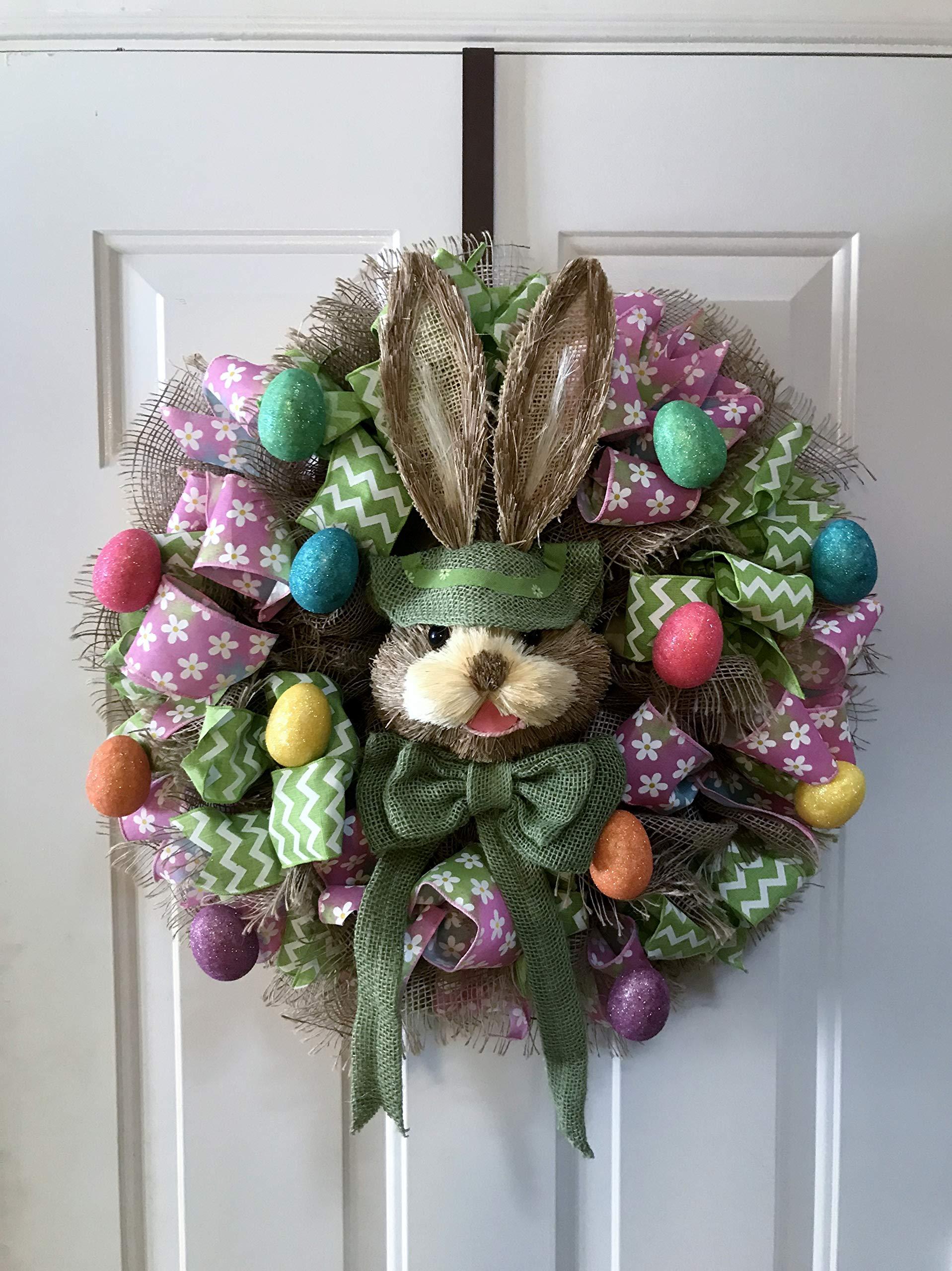 MarDav4Life Easter Wreath (Green Bunny) Door Decor - Happy Spring!!!