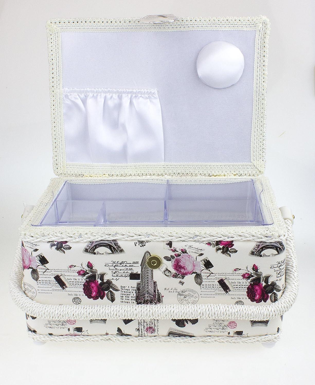 Cesta de costura con tapa en color crema con dise/ño de rosas impreso bandeja extra/íble 1 unidad