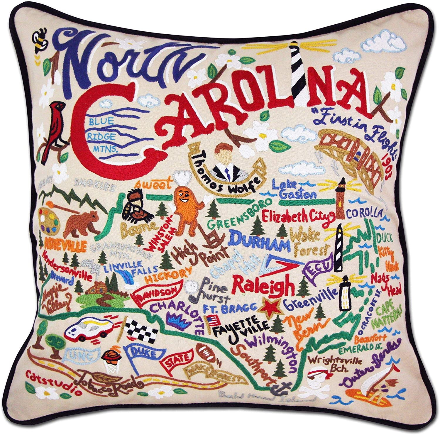 Amazon Com Catstudio North Carolina Embroidered Decorative Throw Pillow Furniture Decor