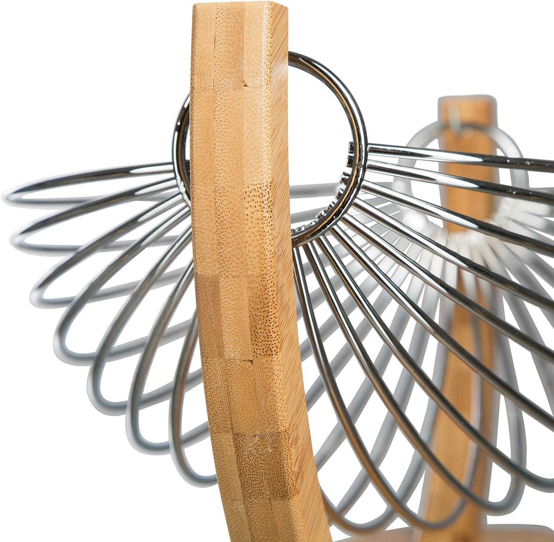 /à suspendre 35 x 20 x 15 cm Argent//Marron Acier Chrom/é Levivo SET100179 Panier /à fruits en m/étal et en bois de bambou