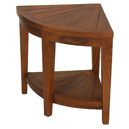 Amazon.com: Bare Decor Hanna Corner Spa Stool in Solid Teak Wood ...