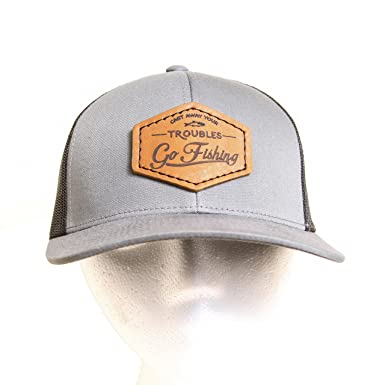Oowee Products Trucker Hat with Leather Patch - Cast Away Your ... ed688f03be3