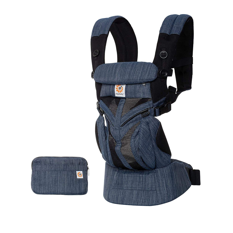 Mochila portabeb/és para reci/én nacidos de hasta 20 kg color azul ERGObaby BCS360PINDIGO 4 en 1 Omni 360 Cool Air Mesh Blue Indigo Weave