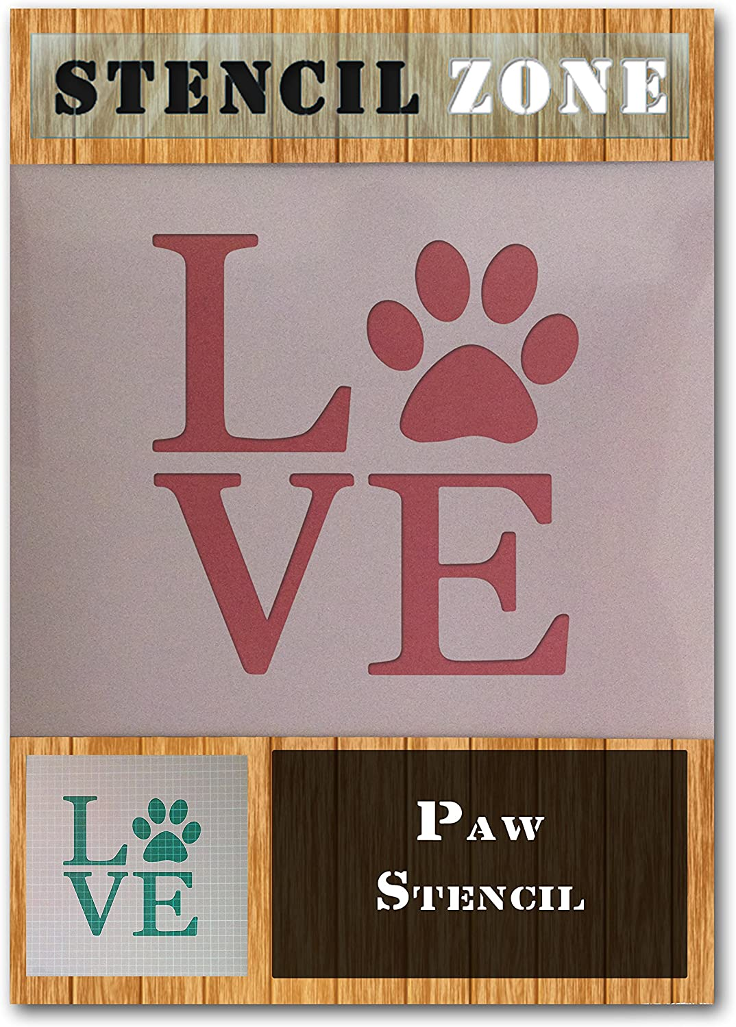 A1 Size Stencil - XLarge Dog Cat Animal Pet Love Paw Mylar Airbrush Painting Wall Art Crafts Stencil Two