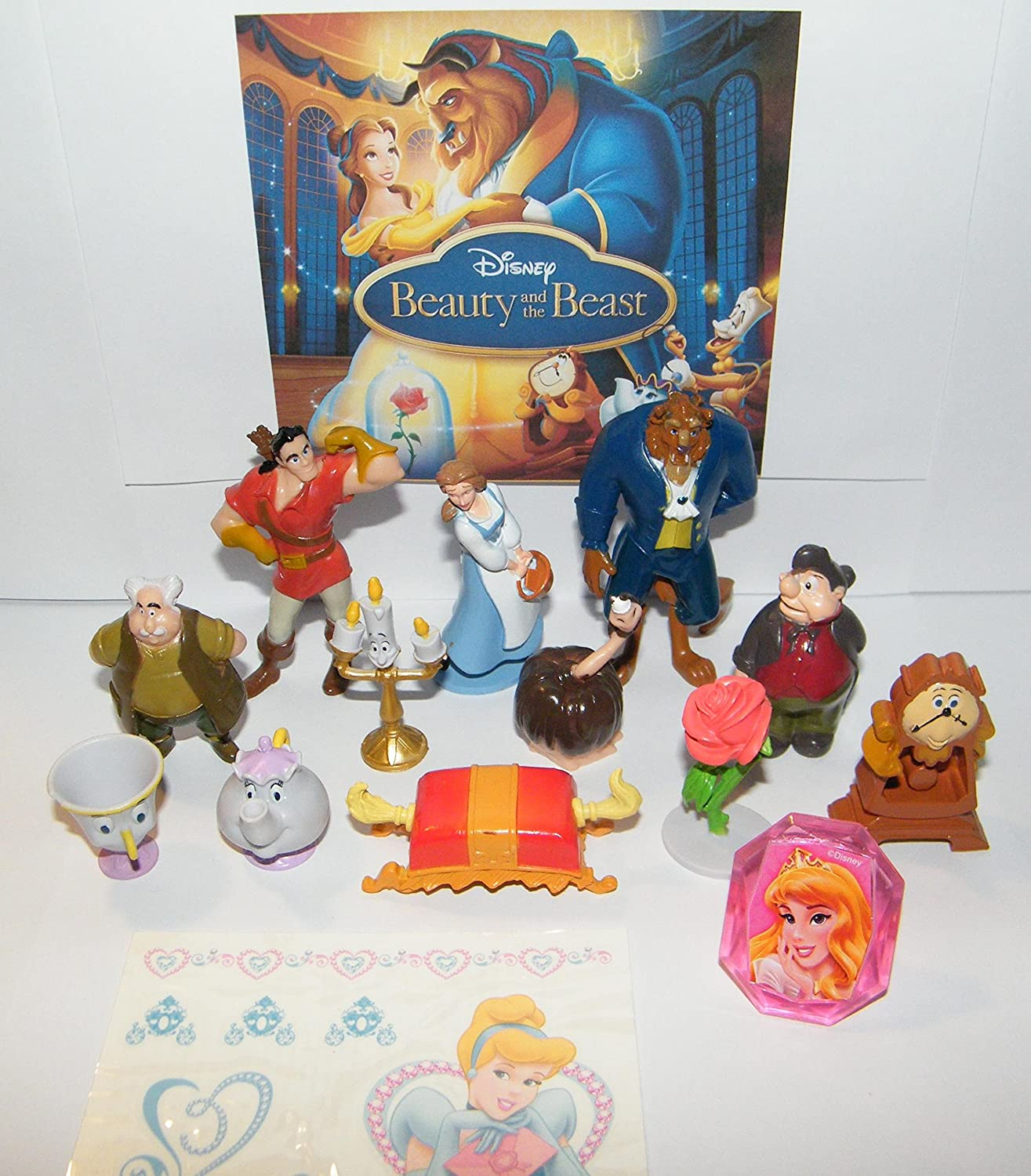 Amazon Com Disney Beauty And The Beast Movie Deluxe Figure Set Of 14 Toy Kit With Figures Tattoo Sheet Toyring Featuring Belle Lumiere Mrs Potts Gaston And Many More Toys Games