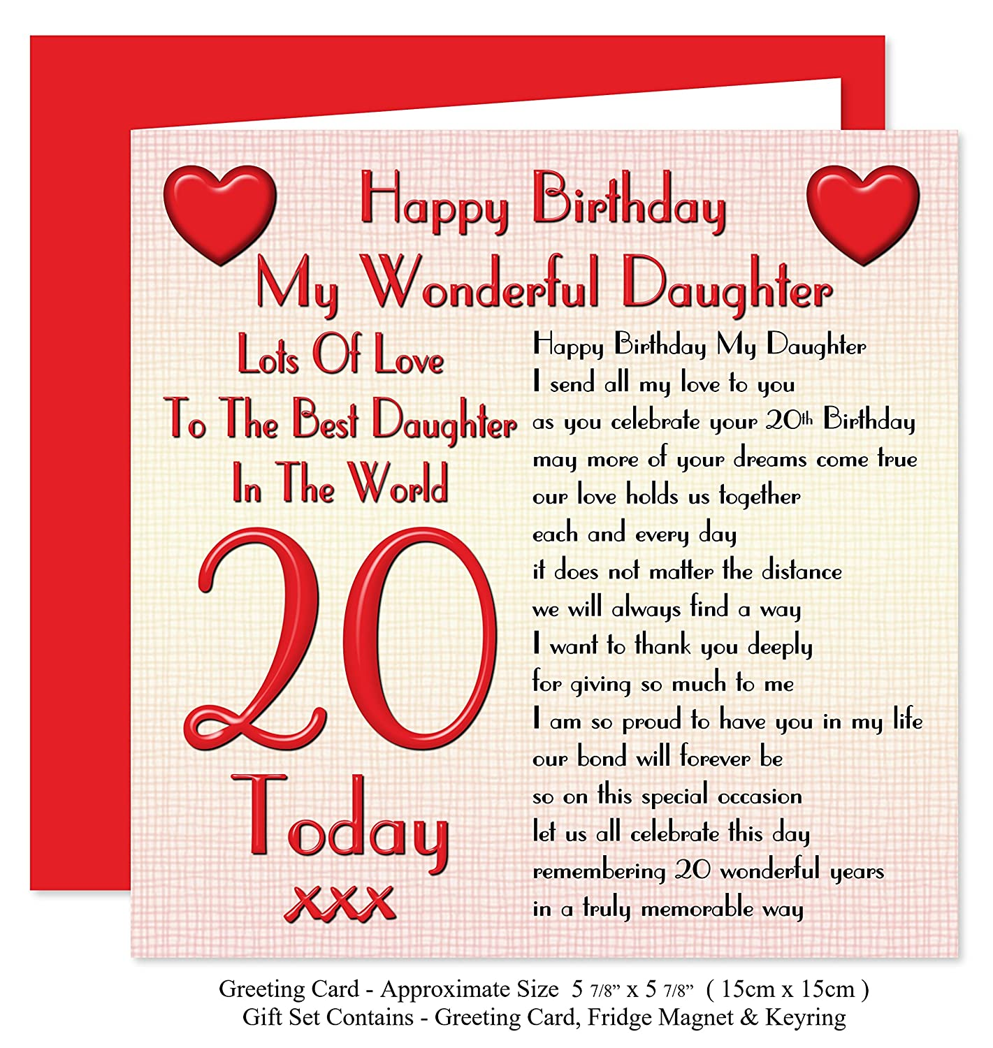 Daughter 20th Happy Birthday Gift Set Card Keyring Fridge
