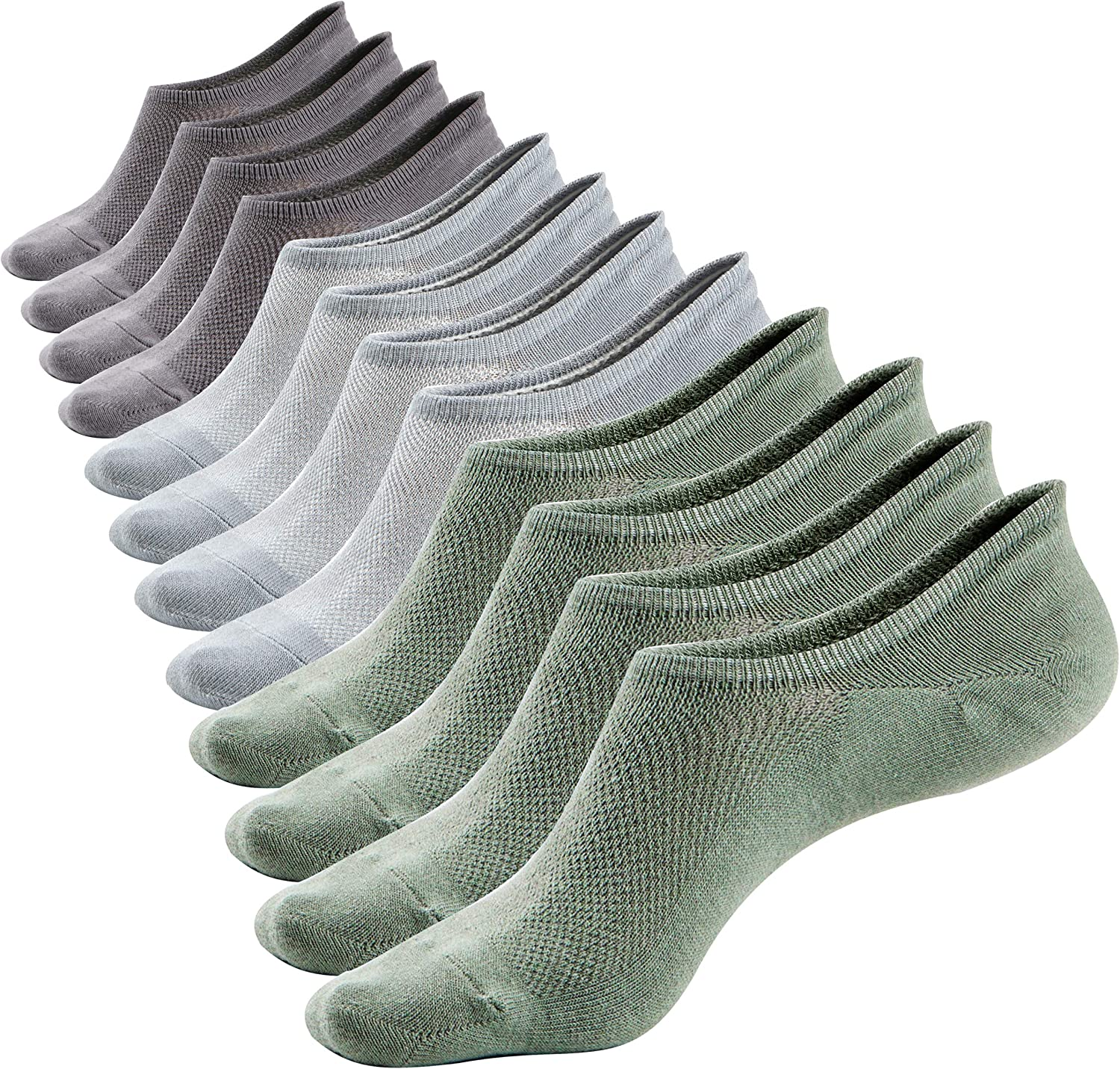 Mens Ankle No Show Low Cut Socks Super Comfy Cotton Casual Non-Slip Socks(6 Pack)Size 8-11