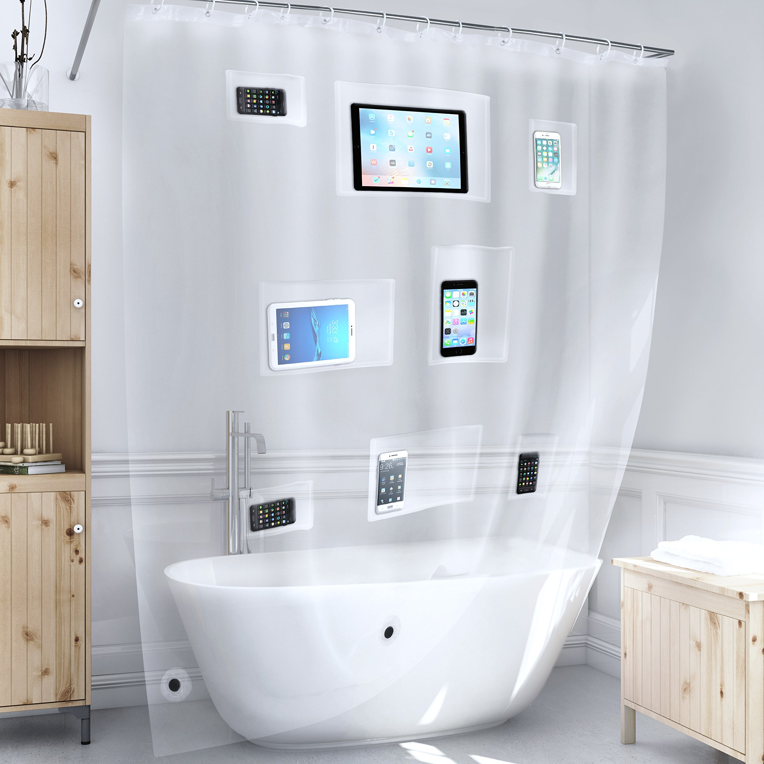 Better Than Bubbles Tech Friendly Clear Shower Curtain Liner with Pockets - For iPad, iPhone, Android, etc.