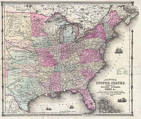 Amazon.com: Historic 1862 Colton Pocket Map of The United ...