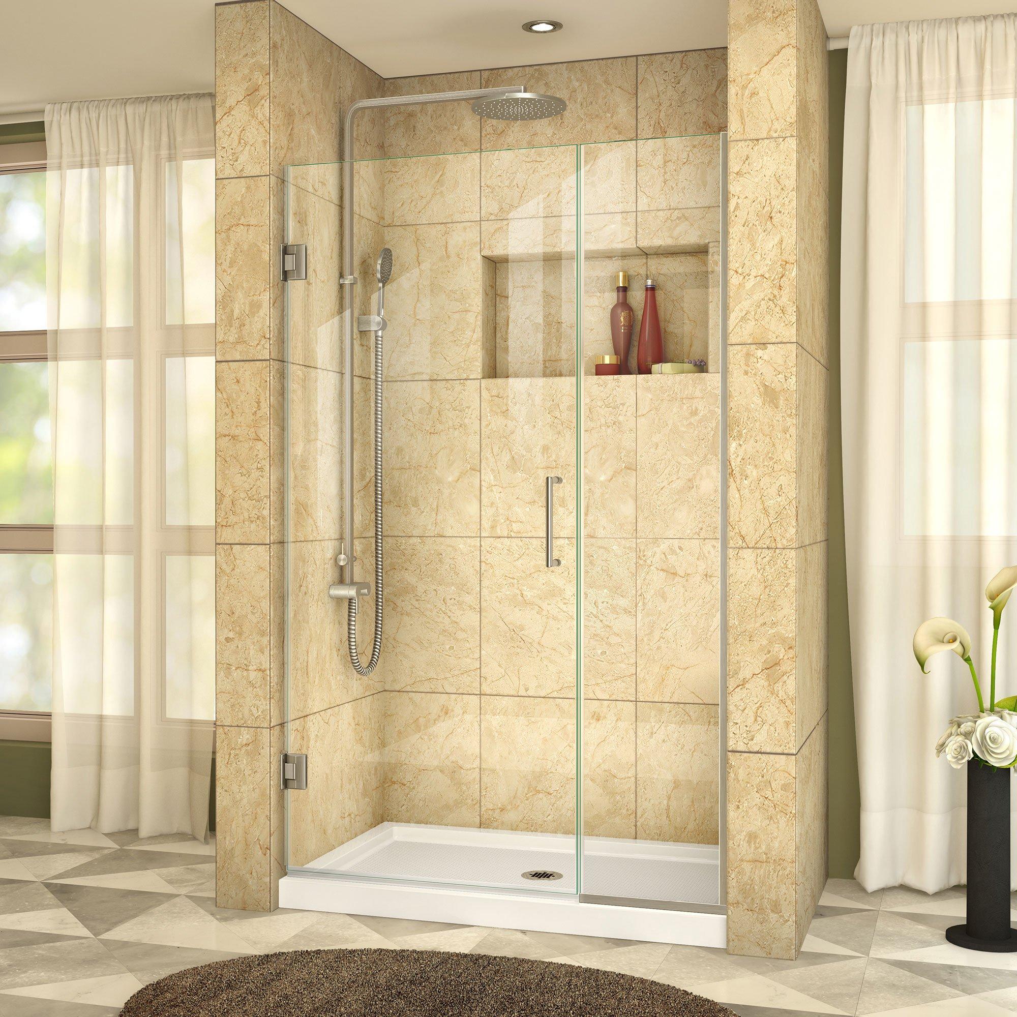 DreamLine Unidoor Plus 39 1/2-40 in. Width, Frameless Hinged Shower Door, 3/8'' Glass, Brushed Nickel Finish by DreamLine