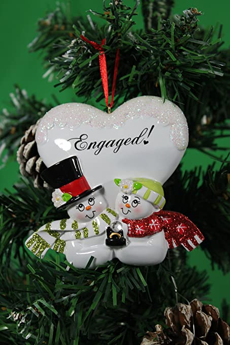 Personalized Christmas Tree Decoration Ornament Snowman Couple Engaged Get Your Desired Names On The Items