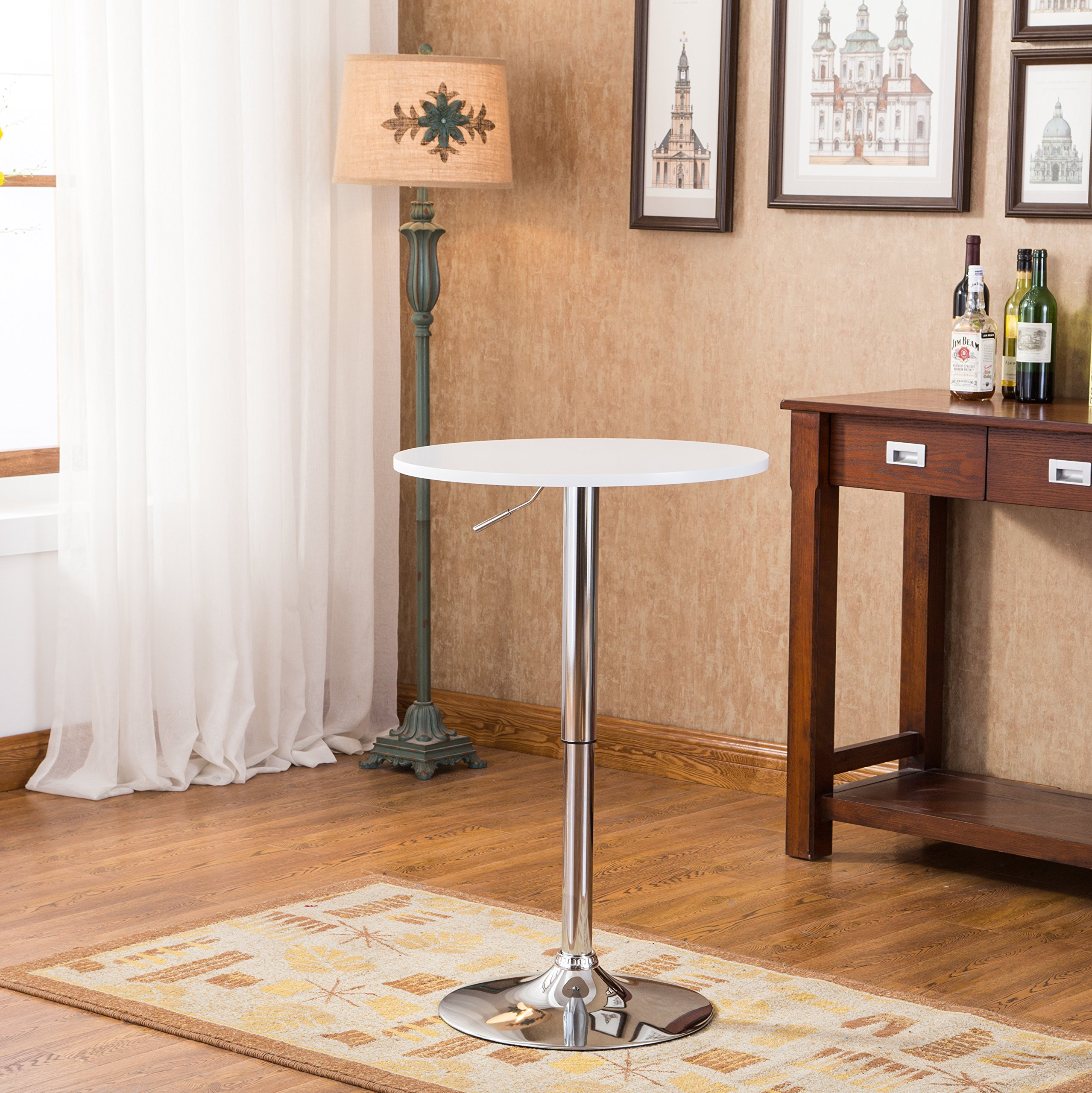 Roundhill Furniture Adjustable Height Wood and Chrome Metal Bar Table, White by Roundhill